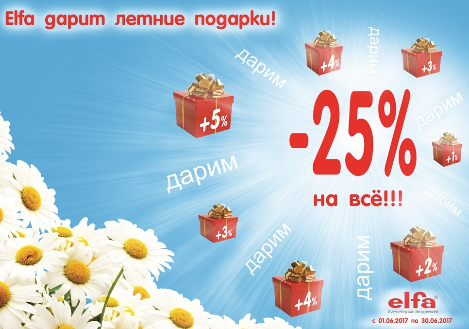 Заканчивается акция «Elfa дарит летние подарки! Скидка — 25%»!